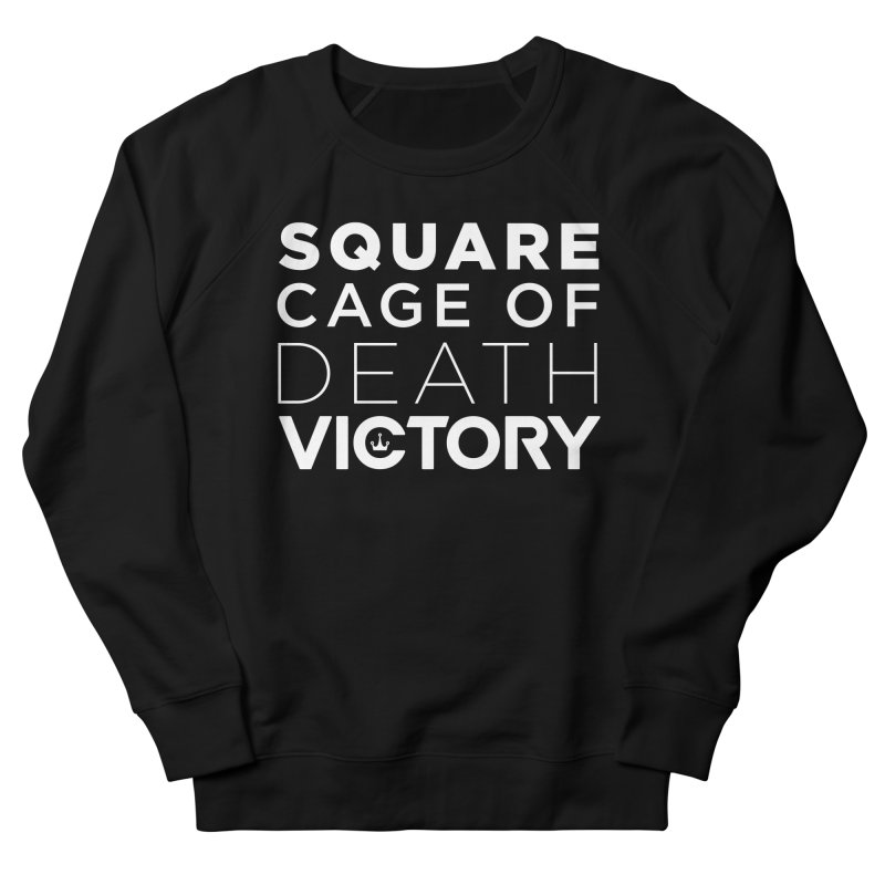 Square Cage of Death White Men's French Terry Sweatshirt by Victory Fighting Championship Shop