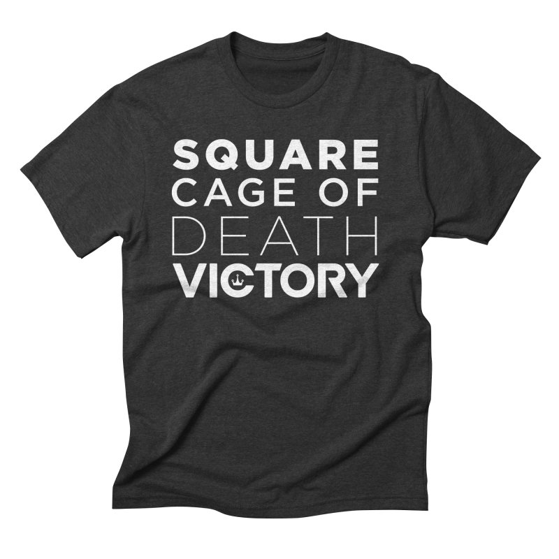 Square Cage of Death White Men's Triblend T-Shirt by Victory Fighting Championship Shop