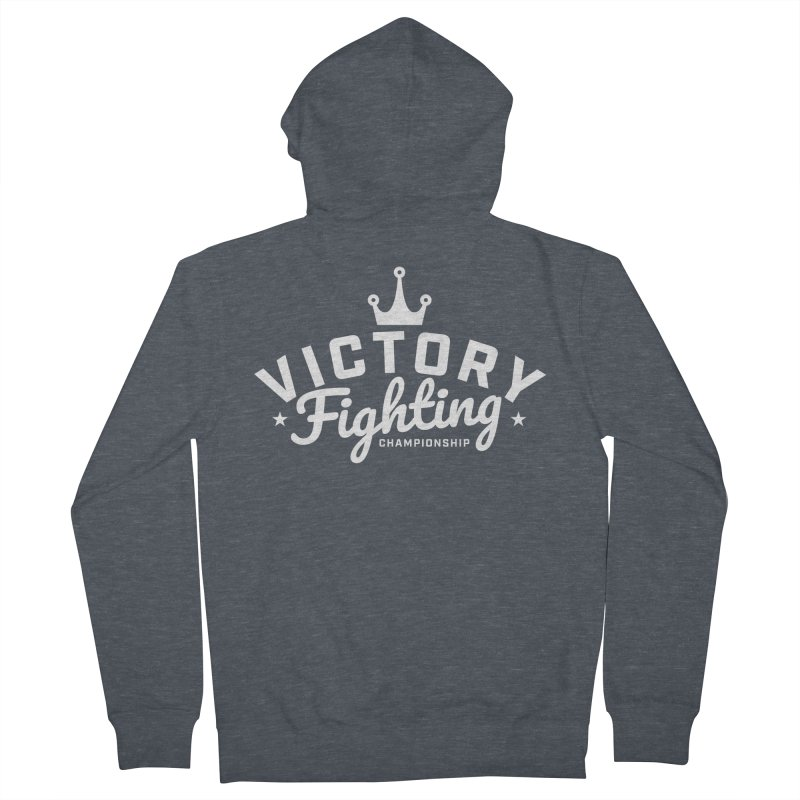 Victory Tribute White Men's French Terry Zip-Up Hoody by Victory Fighting Championship Shop