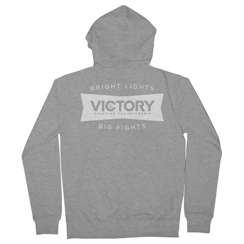 Victory Bowtie White Men's French Terry Zip-Up Hoody by Victory Fighting Championship Shop