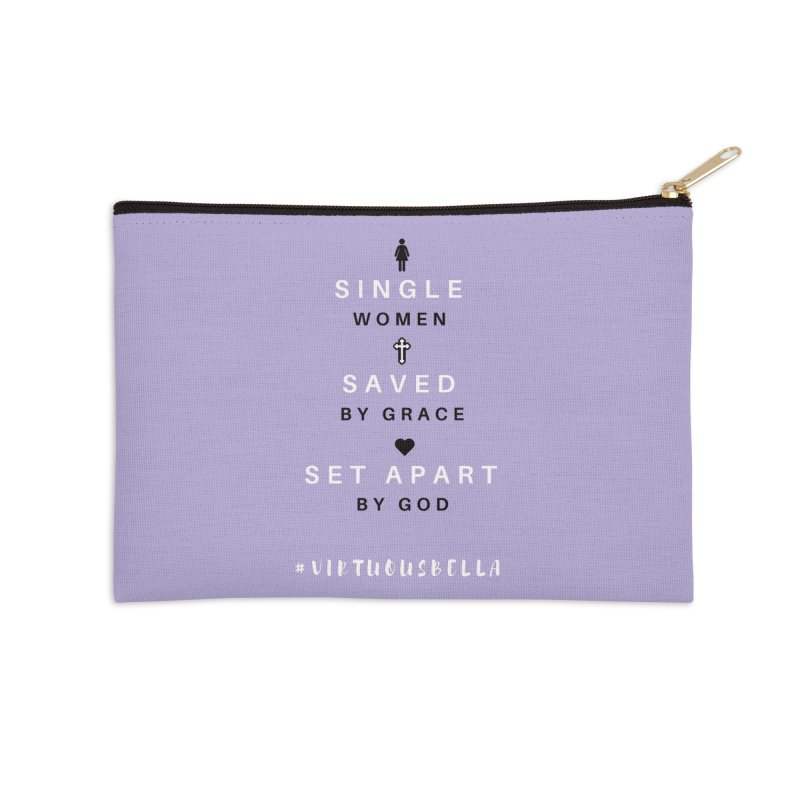 Single | Saved | Set Apart (Black &White) Accessories Zip Pouch by Living Virtuous Boutique