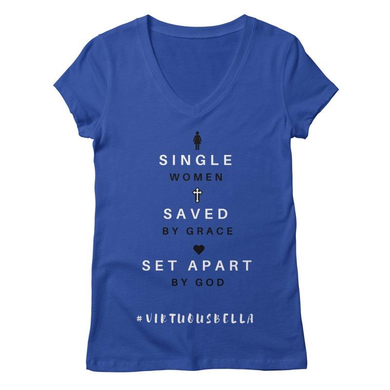 Single | Saved | Set Apart (Black &White) Women's Regular V-Neck by Living Virtuous Boutique