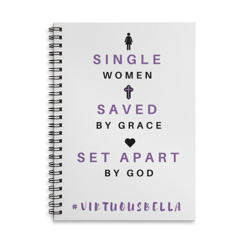 Single | Saved | Set Apart (Purple and Black) Accessories Lined Spiral Notebook by Living Virtuous Boutique