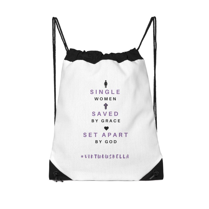 Single | Saved | Set Apart (Purple and Black) Accessories Drawstring Bag Bag by Living Virtuous Boutique