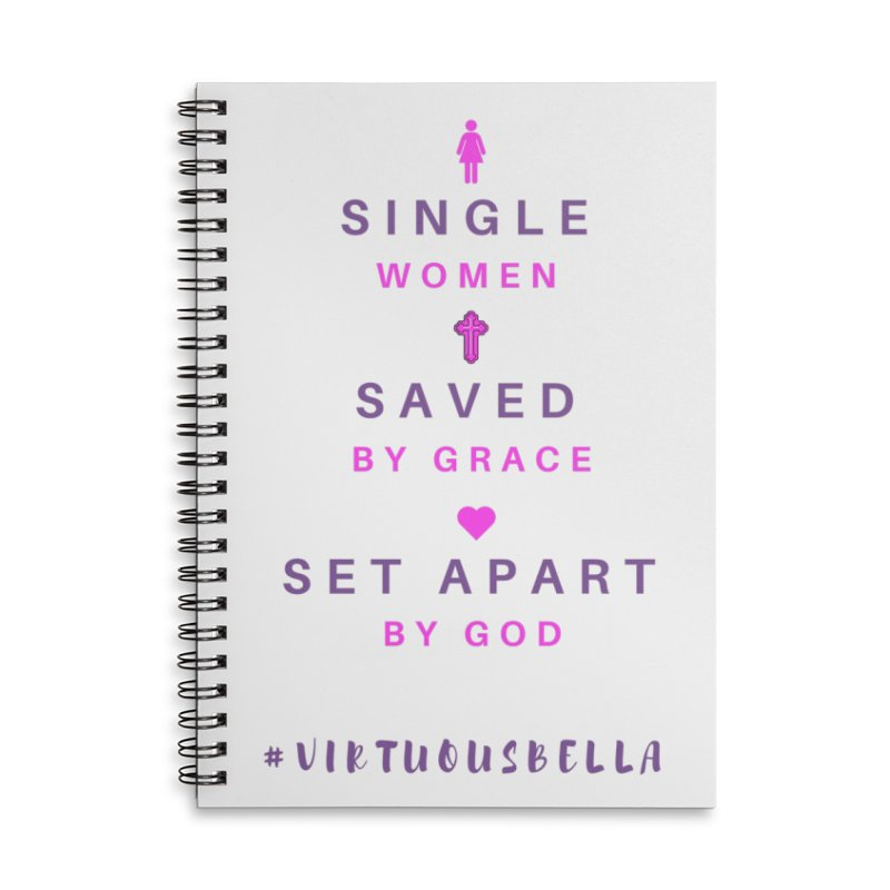 Single | Saved | Set Apart (Pink &Purple) Accessories Lined Spiral Notebook by Living Virtuous Boutique