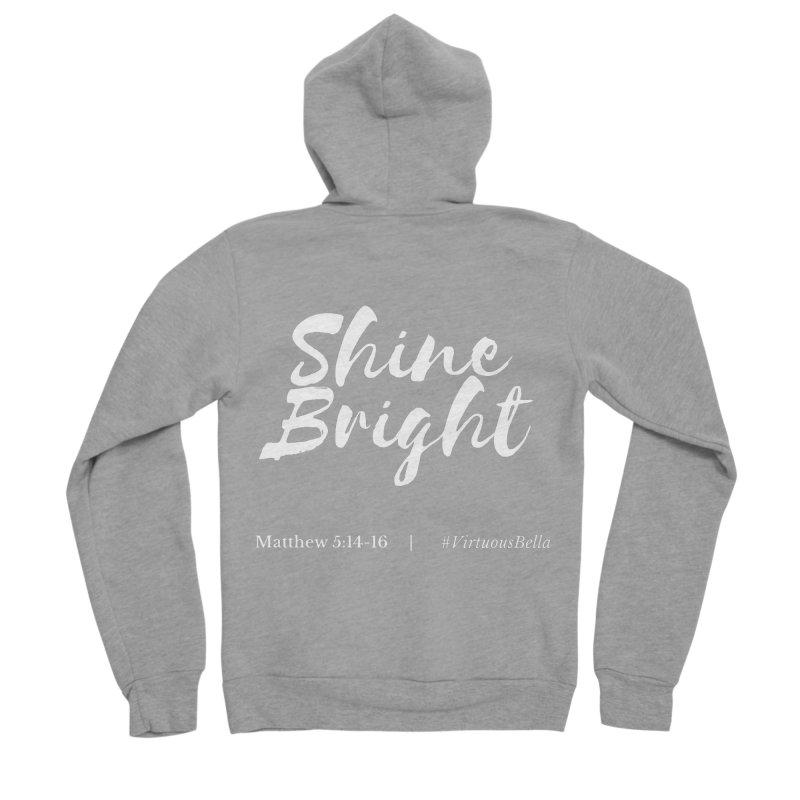 Shine Bright Purple (White Letters) Women's Sponge Fleece Zip-Up Hoody by Living Virtuous Boutique