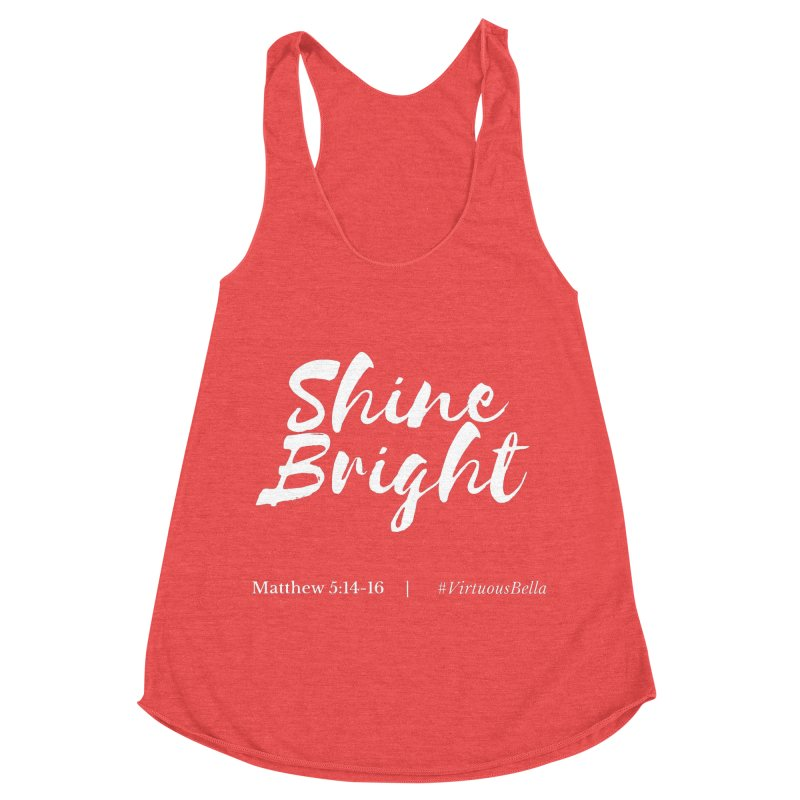Shine Bright Purple (White Letters) Women's Racerback Triblend Tank by Living Virtuous Boutique