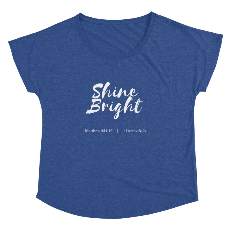 Shine Bright Purple (White Letters) Women's Dolman Scoop Neck by Living Virtuous Boutique