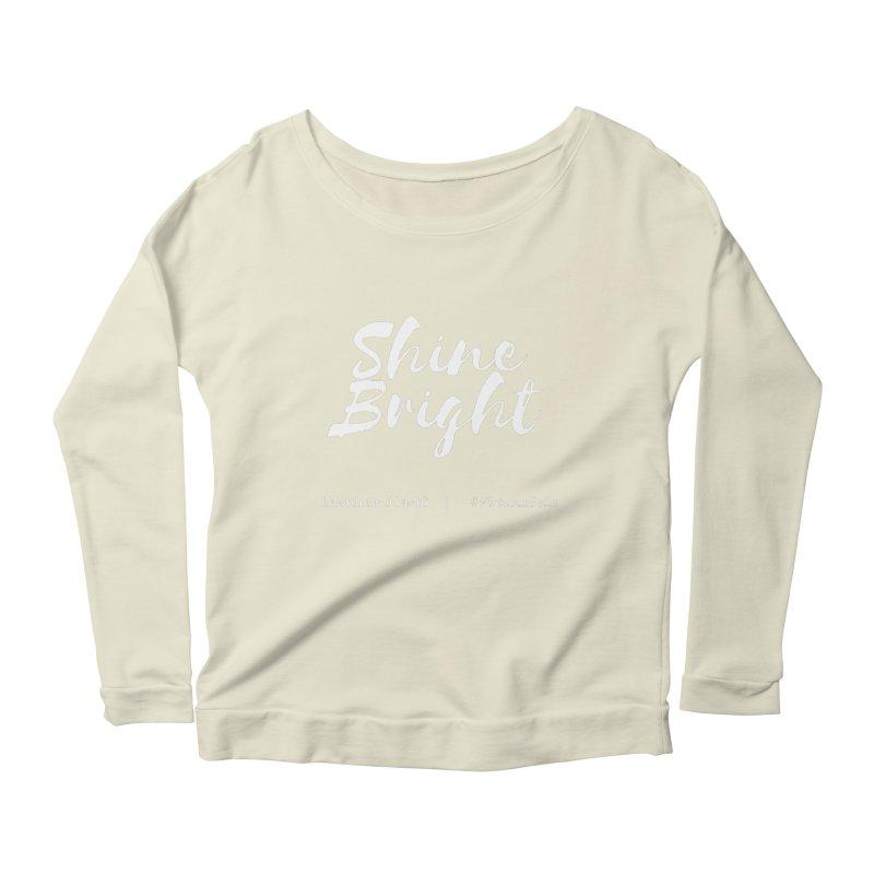 Shine Bright Purple (White Letters) Women's Scoop Neck Longsleeve T-Shirt by Virtuousbella Boutique