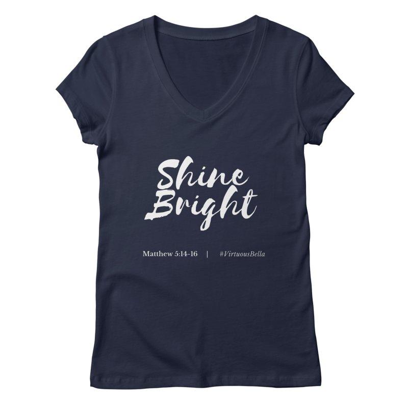 Shine Bright Purple (White Letters) Women's Regular V-Neck by Living Virtuous Boutique