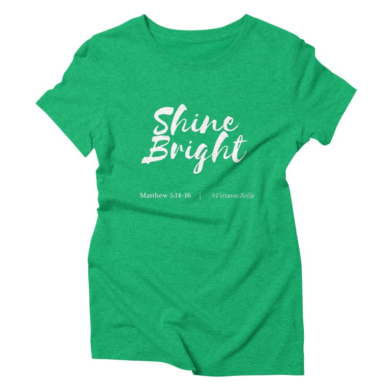 Shine Bright Purple (White Letters) Women's Triblend T-Shirt by Living Virtuous Boutique