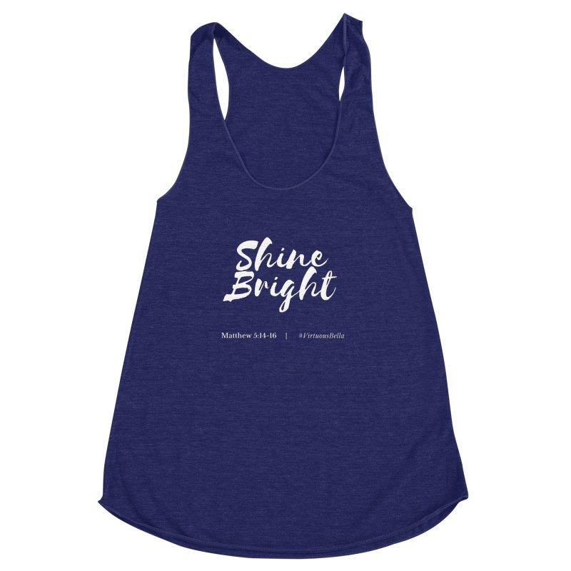 Shine Bright Purple (White Letters) Women's Racerback Triblend Tank by Virtuousbella Boutique