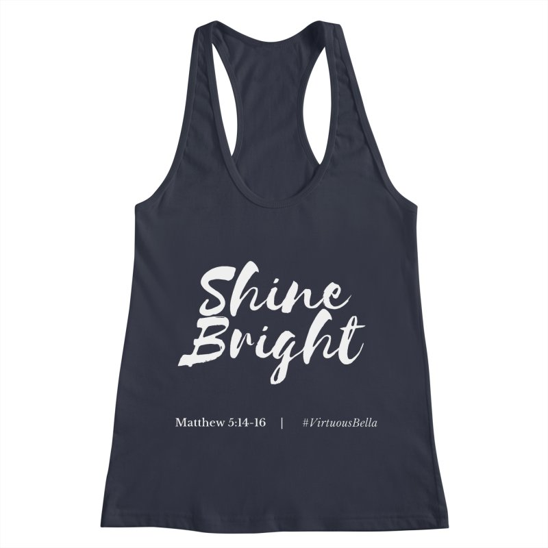 Shine Bright Purple (White Letters) Women's Racerback Tank by Living Virtuous Boutique