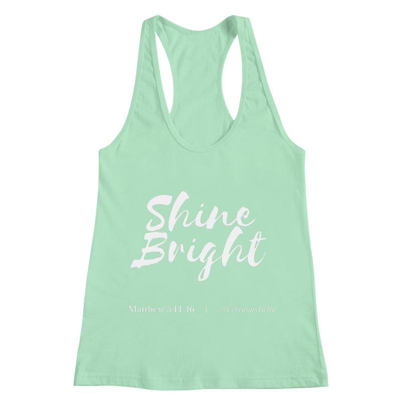 Shine Bright Purple (White Letters) Women's Racerback Tank by Living Virtuous Boutique