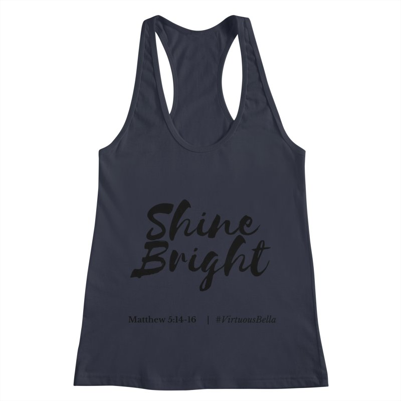 Shine Bright Hot Pink ( Black Letter) Women's Racerback Tank by Living Virtuous Boutique