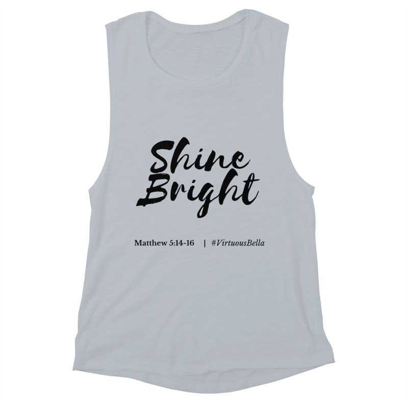 Shine Bright Hot Pink ( Black Letter) Women's Muscle Tank by Living Virtuous Boutique