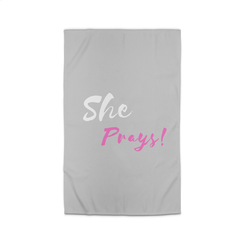 She Prays (Pink and White Letters) Home Rug by Virtuousbella Boutique
