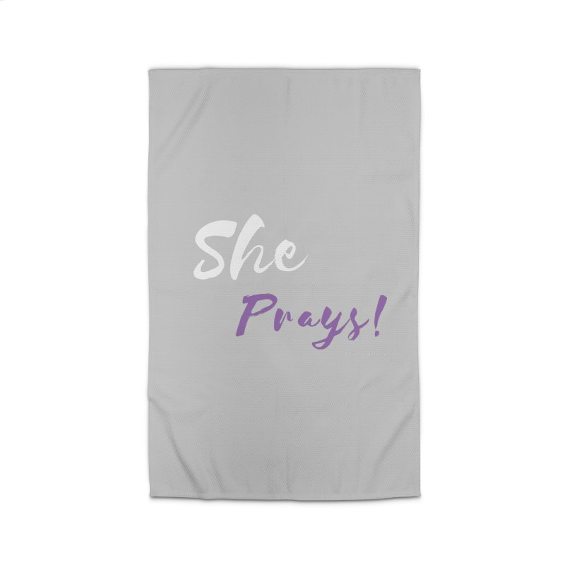 She Prays ( White & Purple Letters) Home Rug by Virtuousbella Boutique