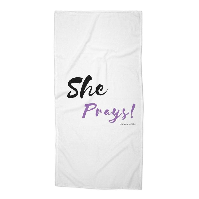 She Prays (Black & Purple Letters) Accessories Beach Towel by Virtuousbella Boutique