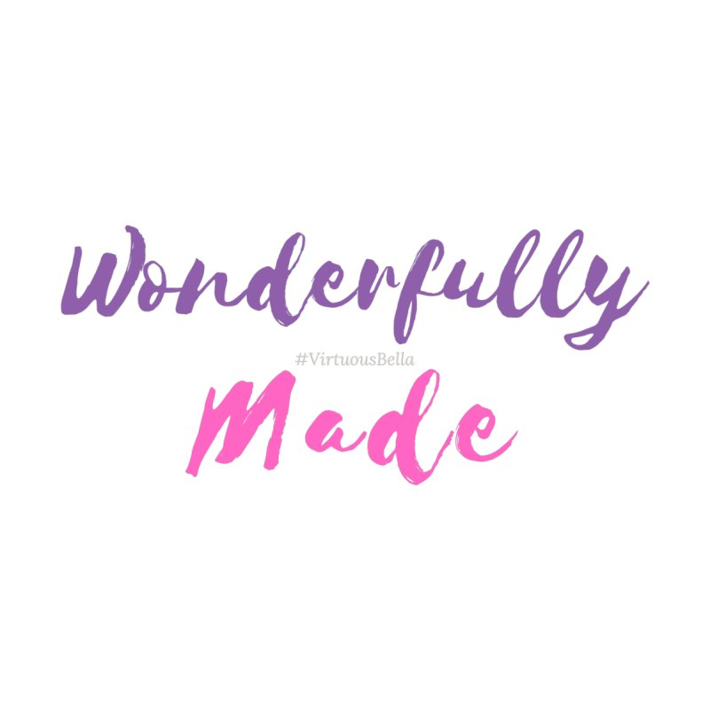 Wonderfully Made (Purple & Pink Letters) Accessories Bag by Virtuousbella Boutique