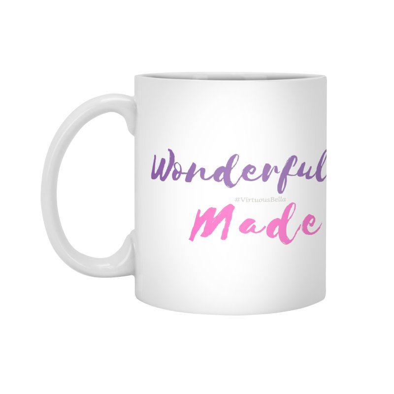 Wonderfully Made (Purple & Pink Letters) Accessories Mug by Living Virtuous Boutique
