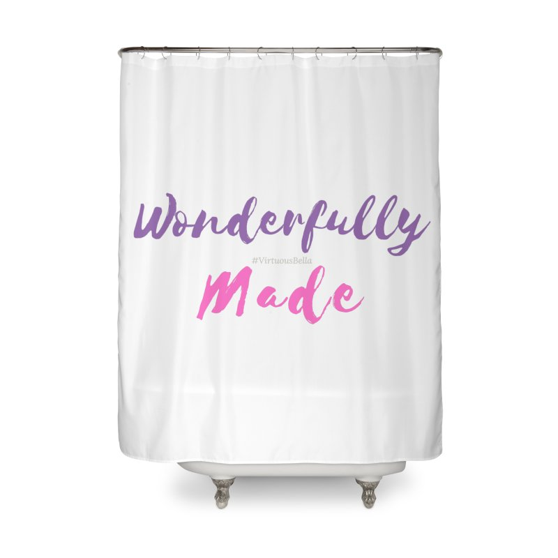 Wonderfully Made (Purple & Pink Letters) Home Shower Curtain by Living Virtuous Boutique