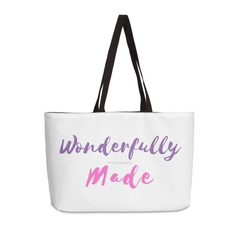 Wonderfully Made (Purple & Pink Letters) in Weekender Bag by Living Virtuous Boutique