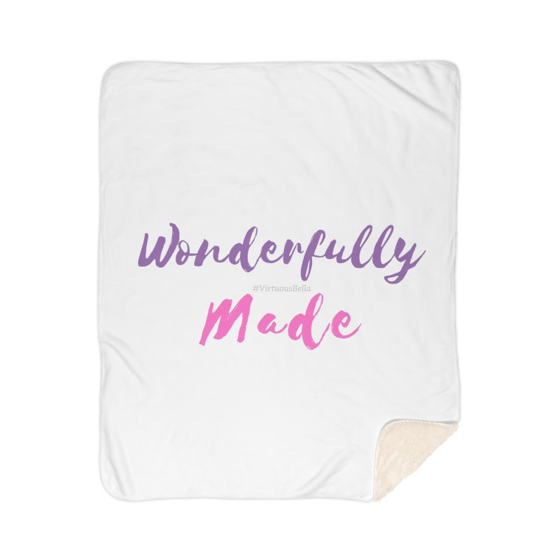 Wonderfully Made (Purple & Pink Letters) Home Sherpa Blanket Blanket by Living Virtuous Boutique