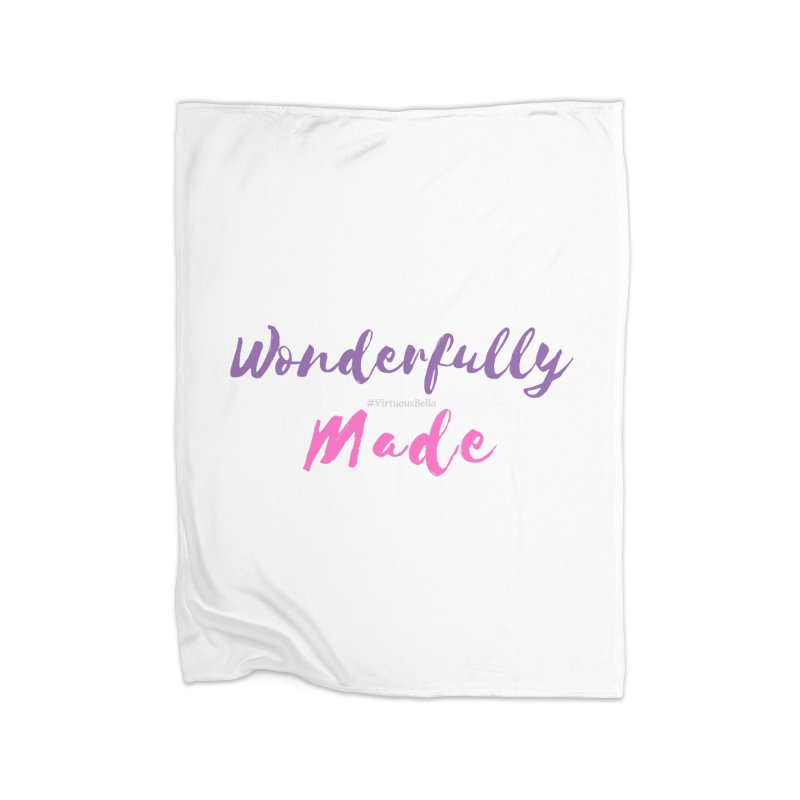 Wonderfully Made (Purple & Pink Letters) Home Fleece Blanket Blanket by Living Virtuous Boutique