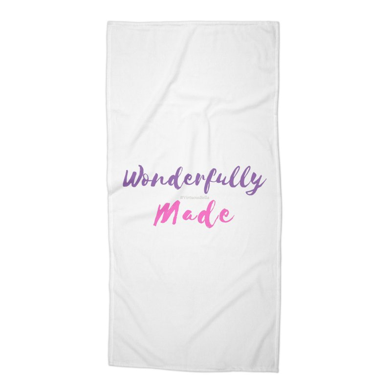 Wonderfully Made (Purple & Pink Letters) Accessories Beach Towel by Living Virtuous Boutique