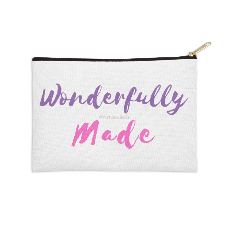 Wonderfully Made (Purple & Pink Letters) Accessories Zip Pouch by Living Virtuous Boutique