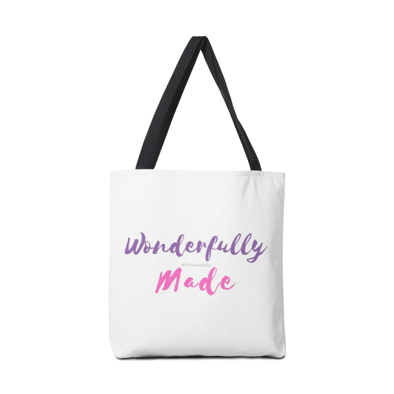 Wonderfully Made (Purple & Pink Letters) Accessories Tote Bag Bag by Living Virtuous Boutique