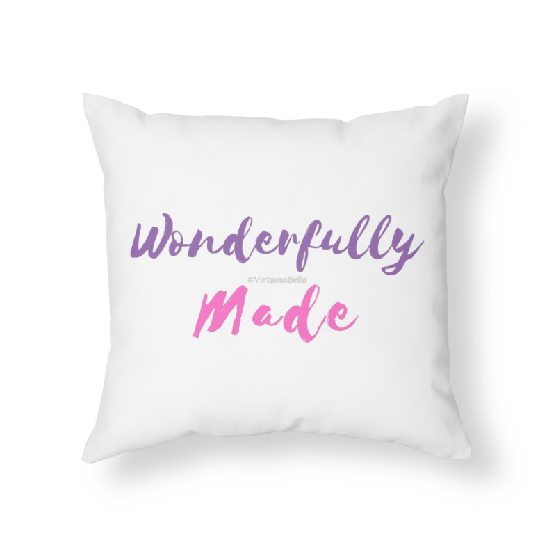 Wonderfully Made (Purple & Pink Letters) Home Throw Pillow by Living Virtuous Boutique