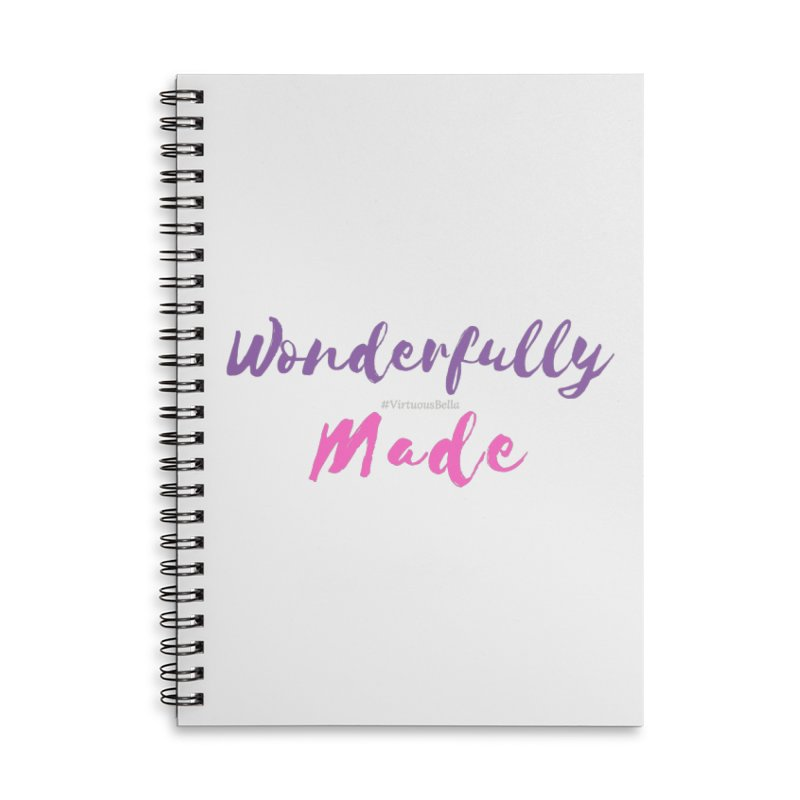 Wonderfully Made (Purple & Pink Letters) Accessories Lined Spiral Notebook by Living Virtuous Boutique