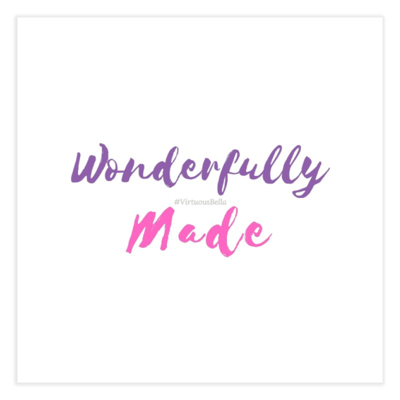 Wonderfully Made (Purple & Pink Letters) Home Fine Art Print by Living Virtuous Boutique
