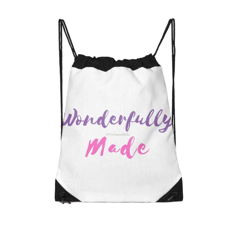 Wonderfully Made (Purple & Pink Letters) Accessories Drawstring Bag Bag by Living Virtuous Boutique