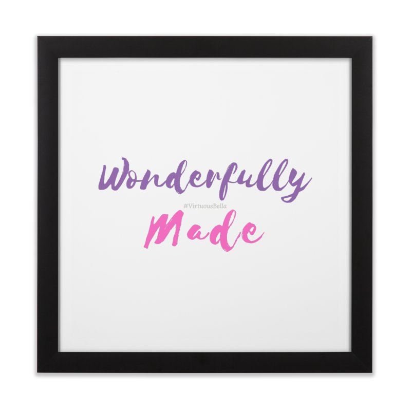 Wonderfully Made (Purple & Pink Letters) Home Framed Fine Art Print by Living Virtuous Boutique