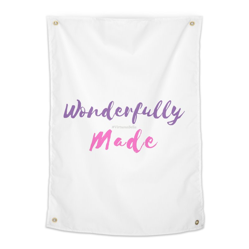 Wonderfully Made (Purple & Pink Letters) Home Tapestry by Living Virtuous Boutique