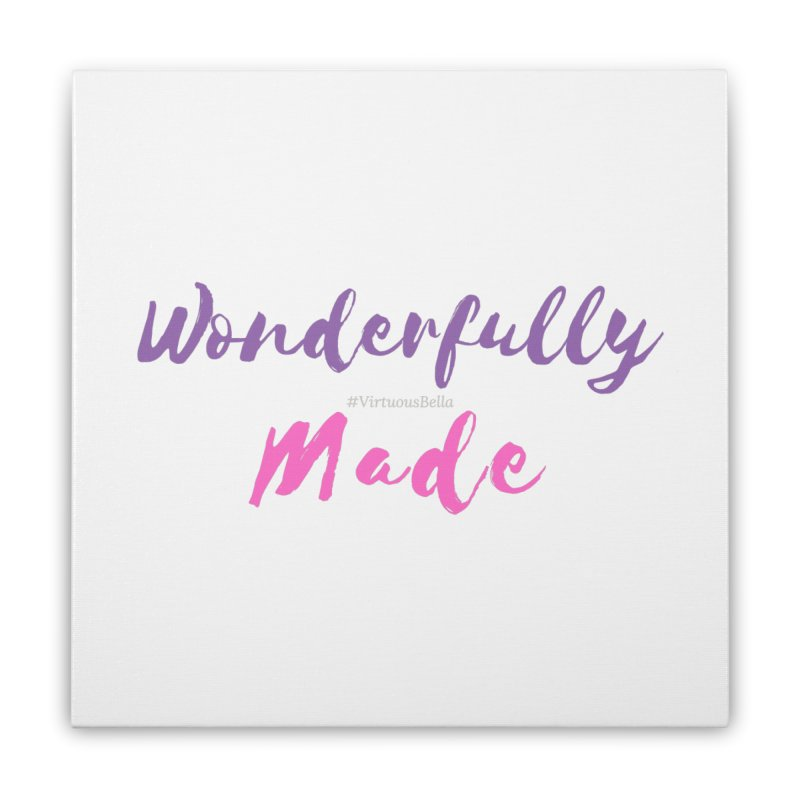 Wonderfully Made (Purple & Pink Letters) Home Stretched Canvas by Living Virtuous Boutique