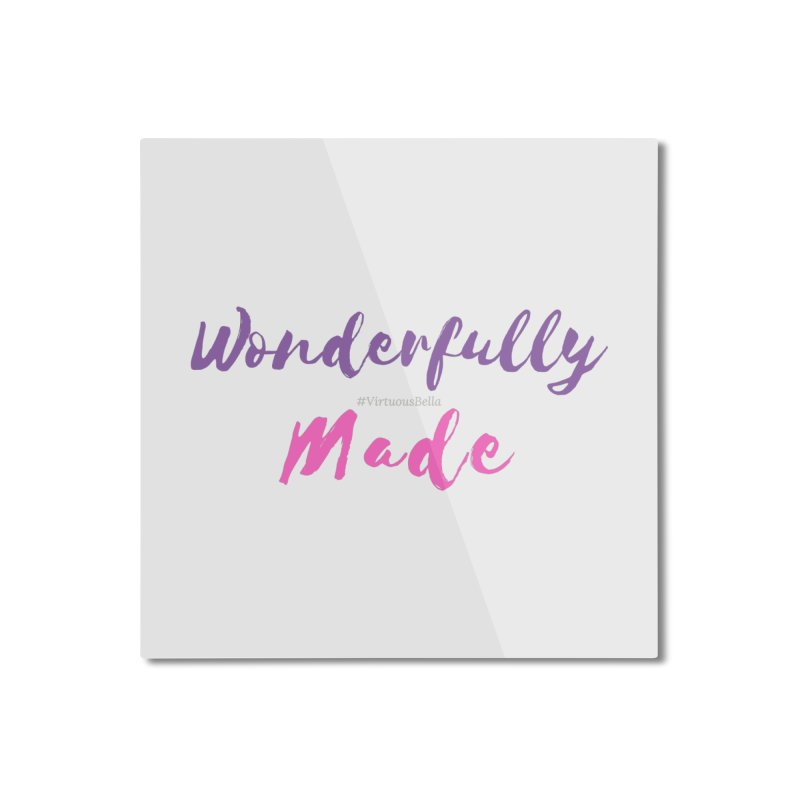Wonderfully Made (Purple & Pink Letters) Home Mounted Aluminum Print by Virtuousbella Boutique