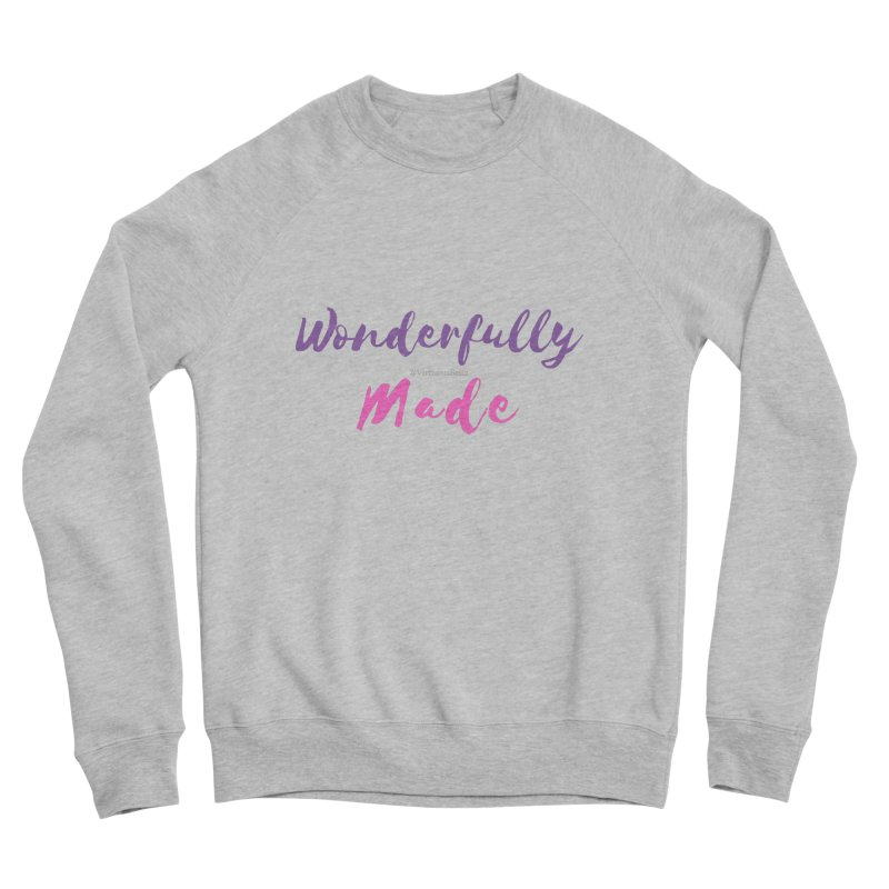 Wonderfully Made (Purple & Pink Letters) Women's Sponge Fleece Sweatshirt by Virtuousbella Boutique