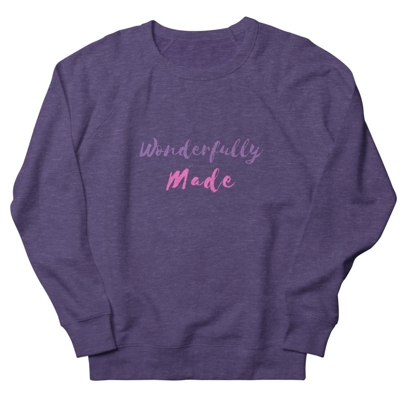 Wonderfully Made (Purple & Pink Letters) Women's French Terry Sweatshirt by Living Virtuous Boutique