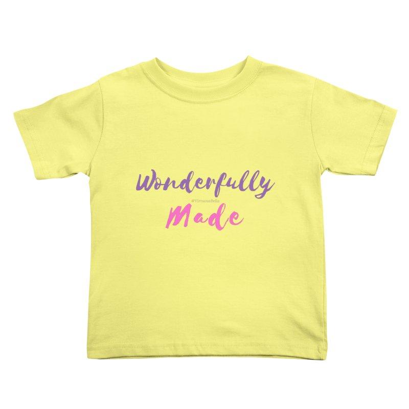 Wonderfully Made (Purple & Pink Letters) Kids Toddler T-Shirt by Living Virtuous Boutique
