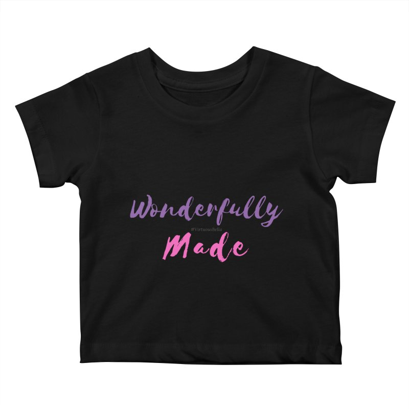 Wonderfully Made (Purple & Pink Letters) Kids Baby T-Shirt by Living Virtuous Boutique