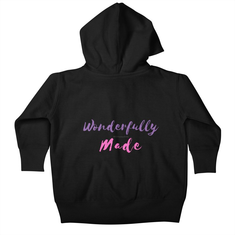 Wonderfully Made (Purple & Pink Letters) Kids Baby Zip-Up Hoody by Living Virtuous Boutique