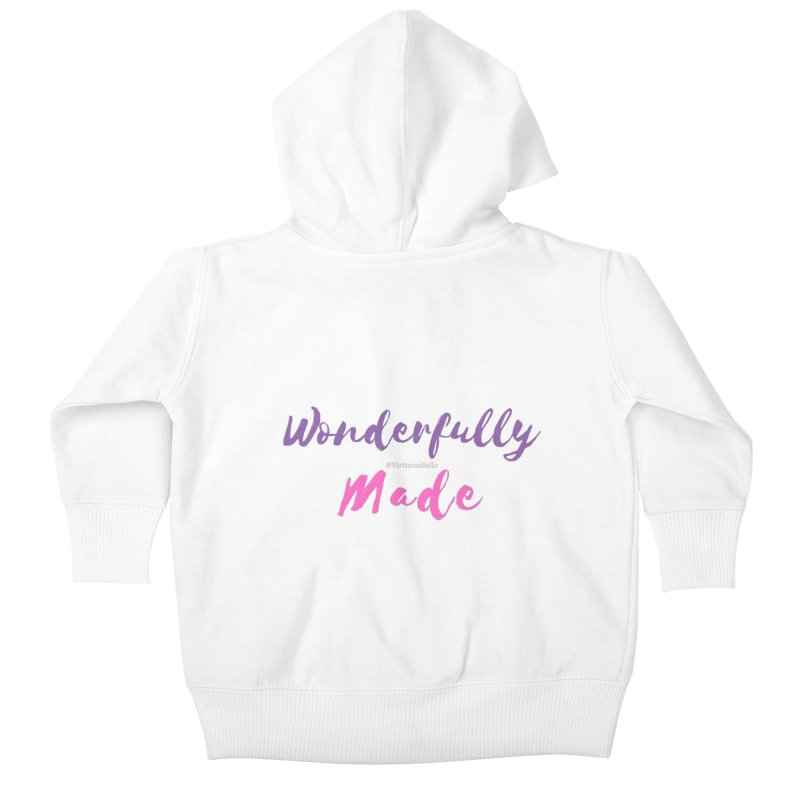 Wonderfully Made (Purple & Pink Letters) Kids Baby Zip-Up Hoody by Virtuousbella Boutique