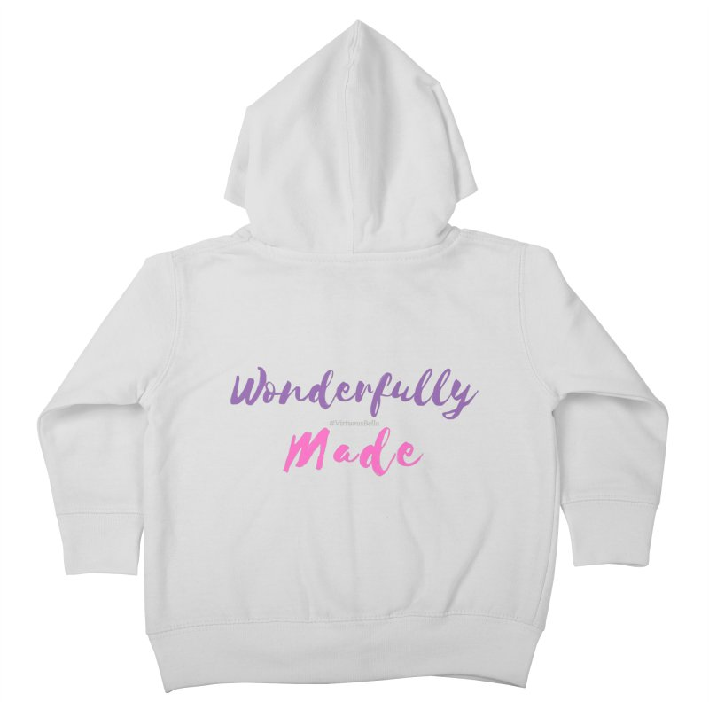 Wonderfully Made (Purple & Pink Letters) Kids Toddler Zip-Up Hoody by Living Virtuous Boutique