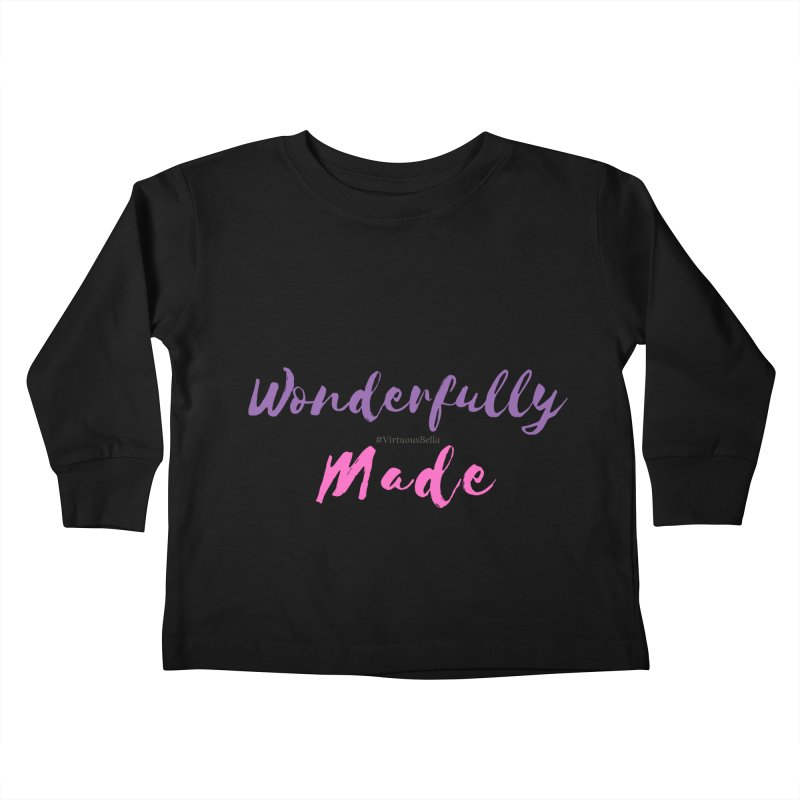 Wonderfully Made (Purple & Pink Letters) Kids Toddler Longsleeve T-Shirt by Living Virtuous Boutique