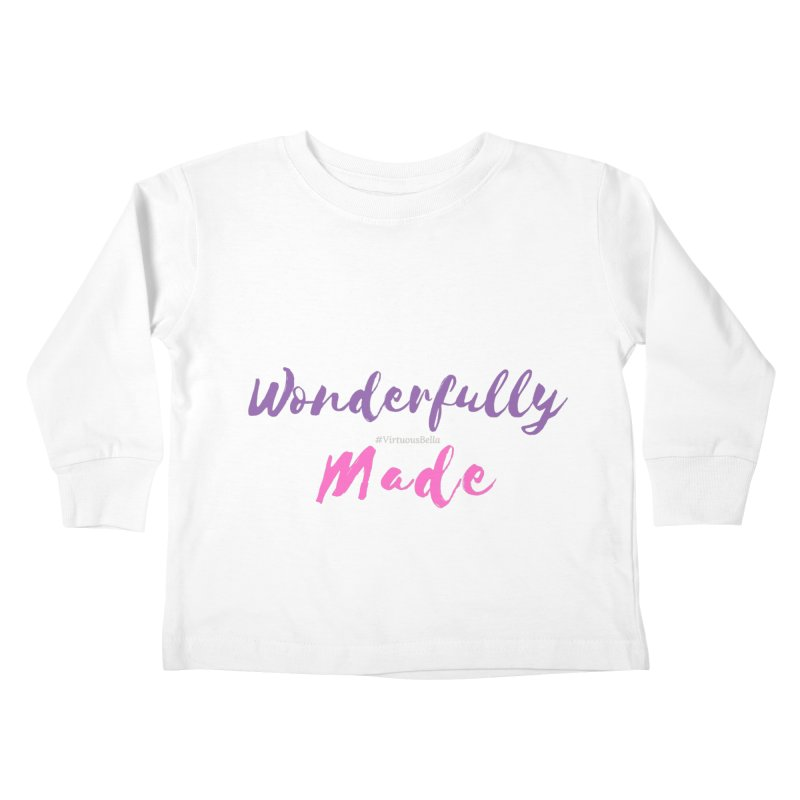 Wonderfully Made (Purple & Pink Letters) Kids Toddler Longsleeve T-Shirt by Virtuousbella Boutique