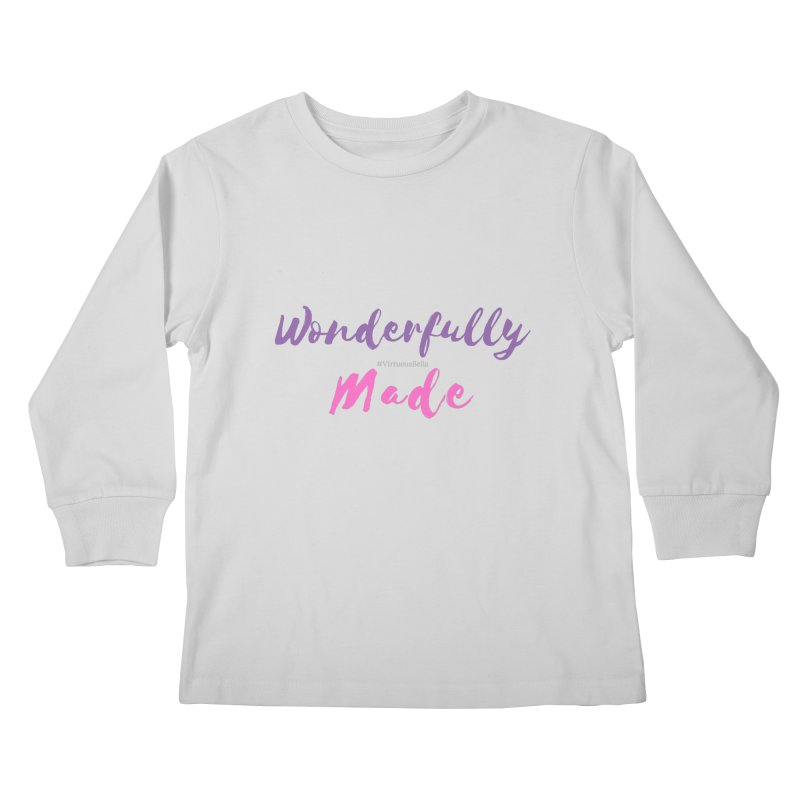 Wonderfully Made (Purple & Pink Letters) Kids Longsleeve T-Shirt by Living Virtuous Boutique